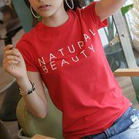 Women Crew Neck Regular Classic O-neck Women Letter Print T-shirts Casual Slim Cotton Tee Shirt 2038 Short Sleeve Girls Red Blouse Tops S-XXL