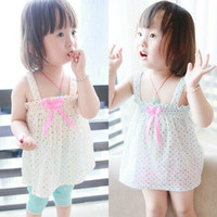 Girl Summer Standard Summer New Girl Clothing Baby Vest Skirt Pure Colour Dot Sundress+Bowknot Belt for girl Kids Jumper Solid Color Wave Point dress for giril