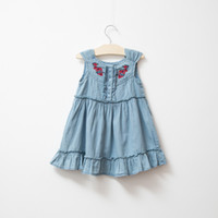 baby girl kids Jeans dress Denim dress embroidery dress lace...