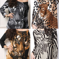 Wholesale New Fashion Woman Animal Printed Cashmere Oversize Long Sleeve Sweater Round Collar Blouse Top