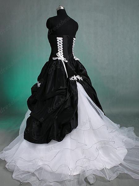 Real Imagen blanco y negro gótico victoriano vestido de bola vestidos de novia 2014 Otoño Invierno