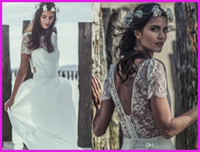 Sheath/Column Model Pictures Scoop Elegant Cap Short Sleeve boho Lace Beach Wedding Dresses Gowns 2014 Stunning Dreamy Scoop White Backless Chiffon Bride Dress