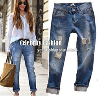 women jeans wear - 2014 Summer Women Jeans Casual Wearing White Retro Hole Butt lifting Denim Jeans Roll up Cross Haren Pants Applique Plus Size