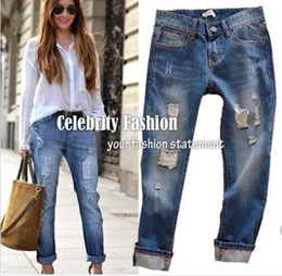 Wholesale 2014 Summer Women Jeans Casual Wearing White Retro Hole Butt lifting Denim Jeans Roll up Cross Haren Pants Applique Plus Size