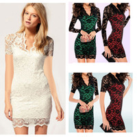 Wholesale Newest Women Jacquard Lace Mini Dress with scalloped neck Slim Sheath Long Sleeves Celebrity Slim Dress