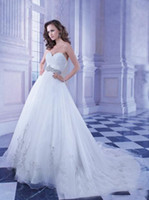 A-Line Reference Images Strapless WM Vestido De Noiva 2014 Simple Strapless A-Line Organza Wedding Dresses Demetrios Ruched Floor Length Chapel Train Beaded Bridal Gowns