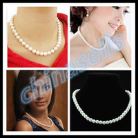 american torque - women bridal simulated round pearl chain necklace jewelry lady wedding gifts torque