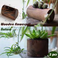 Wholesale New Furnishings fun Pine Small wooden vase flower pot wooden box fence flower Green nature pure handmade wooden flower pot piece