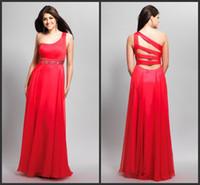 Wholesale Terani Design Red Floor Length Evening Dresses Sash One Shoulder Formal Gowns Open Back A Line High Quality Custom Made Hot LN
