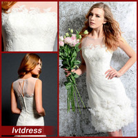 Wholesale Little White Dresses Wedding Dresses Sheath scoop sheer Knee Length lace beads handmade flowers Zip Back Sexy bridal Gowns