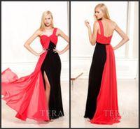 Wholesale Two Colors One Shoulder Evening Dresses Chiffon Side Slit Zipper Back Formal Gowns Sweep Train Terani Design Hot Sale LN