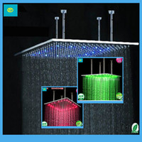 Wholesale Bathroom Rainfall Square LED Shower Head quot Inch RGB Color Ceiling Mounted with Shower Arms Brushed Stainless Steel Years Warranty