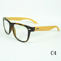 Wholesale Natural Bamboo Hand Made Optical Frame Wood Temples Plastic Frame Vintage Eyeglasses Frame Colors