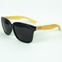 Sports wood eyewear - 2014 Bamboo Sunglasses Cool Black Sun Glasses Wood And Plastic Material Vintage Eyewear Mix Colors