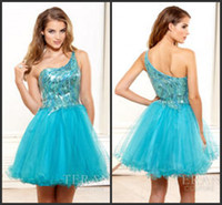 Wholesale One Shoulder Terani Designer Mini Length Homecoming Dresses Sequins Tulle Prom Gowns A Line Short Party Holiday Dress Hot LN