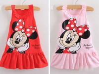 Wholesale Summer Children Girls Sleeveless Minnie Cartoon Pleated Dresses Kids Clothing Ruffles Collar Tank Bow Dots Dress Childs Cotton Dressy H0246
