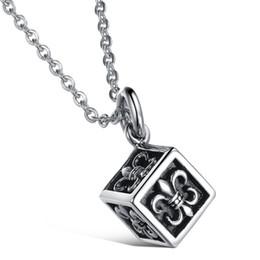 Wholesale Fashion Creative square Titanium Steel bon statement Pendant Necklace Fashion Jewelry Items air jordans necklace