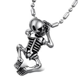Wholesale Miraculous ghost child Titanium Steel bon statement Pendant Necklace Fashion Jewelry Items air jordans necklace
