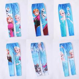 Wholesale FREE FAST WAY Frozen Elsa Anna girls children leggings long pants trousers designs DH04