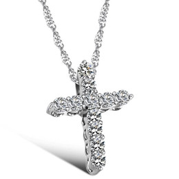 Wholesale classical cross CZ diamond bon Stellux Crystals statement Pendant Necklace for Valentine s Day Gift of Love air jordans necklace women