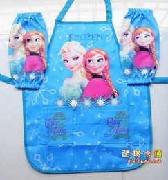 Wholesale New Frozen Aprons Sanitary Waterproof aprons Frozen Paiting Children Cover Up with sleeves cover sets