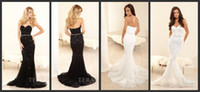 Wholesale Mermaid White Sweetheart Terani Evening Dresses Court Train Applique Sheath Formal Gowns Black Sequins Zipper Back Hot LN