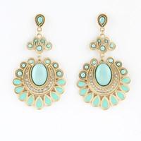 achat en gros de paon pierres précieuses-Fashion Drop Earrings Hollow Out Peacock Feather Designer Enamel Dangle Earrings For Women Créé Gemstone Jewelry