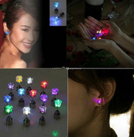 Wholesale Free EMS DHL Pairs Crystal Light Up Led Flash Earring Studs for Dance party Disco Wedding Christmas accessories with Retail Package