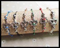 Wholesale new fashion handmade knitted ethnic crystal fleur de lis charm bracelet alloy women men gay pride wristband gifts