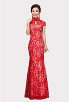 Wholesale 2014 New Design Women Cheongsam Chinese Traditional Bride Wedding Dresses Lace Mermaid Long Lace up Toast Clothing Colors Sizes