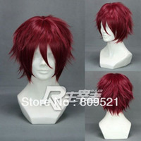 Burgundy Straight Wig,Half Wig FREE SHIRRIN Top Sale Stylish Short Hiiro no Kakera -Character Song Vol.1 Dark Red Anime Cosplay wig