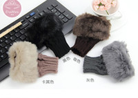 Wholesale Girl Women Winter Knitted Glove Warm Short Fingerless Computer Mittens Glove