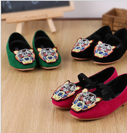 Wholesale Autumn Children Cartoon Tiger Casual Shoes Girl Shoes Kids Shoesd Girl Shoes Color Red Green Black Pair S13AEF