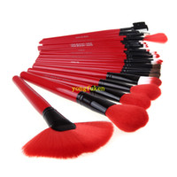 Wholesale China RED Professional Cosmetic Tool MakeUp Brushes Set Makeups Cosmetics Kit with Classic Crocodile Grain Leather Case DJ071