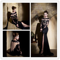 Reference Images Crew Lace Mysterious Sexy Evening Elf Dresses Sheer Illusion Lace Tulle Upper Long Sleeves Sweep Train Satin Prom Skirt Gown With Split Side Chic Lady