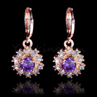 Wholesale Dropship K Rose Gold Filled Fashion Design Cubic Zircon Leisure sports Lady Women Earring Dangler Jewelry CZ0142