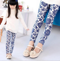 Wholesale 2014 Autumn girl tights children s leggings flower girl cotton tights kids leggings Retro style pretty pants ZY022