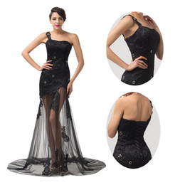 Wholesale 2014 Lace Tulle Ladies Formal See through Black Evening Prom Pageant Party Dresses Backless Design CL6100