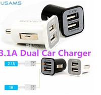 Car Chargers   USAMS 3.1A Dual USB Car 2 Port Charger 5V 3100mah double plug car Chargers Adapter for iPhone 5 5S iPod iTouch HTC Samsung s3 s4 s5 200pcs