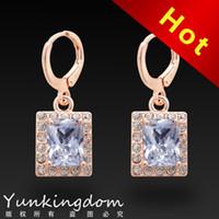 Drop Earrings fashion jewelry dropship - Dropship 18K Rose Gold Filled Fashion Design leisure Cubic zirconia Hot Lady Women Earrings Dangler Jewelry CZ0326