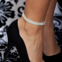 beach anklets - Crystal Rhinestone STRETCH CZ Tennis Ankle Chain ANKLET Bracelet SEXY Women Summer Beach Sand Jewelry Rows