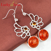 Dangle & Chandelier amber wing - Luckyshine Two pieces dangle exotic colorful silver plated Honey special round Amber and Wing shape yellow crystal earrings E0236