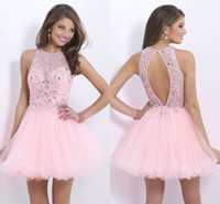 Wholesale Sweet Sheer Neck Crew Short Mini Homecoming Dresses A Line Tulle Crystal Beads Backless Party Dress Short Prom Gown