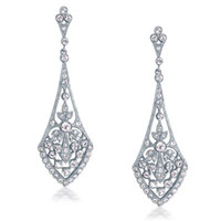 Wholesale Vintage Art Deco Bridal Wedding Chandelier Earrings Sterling Silver Pave Crystals Leaf Drops Earings Jewelry For Women