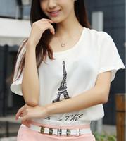 Women sweet tee shirts - 2014 Summer Scrawl Chiffon T shirt Sweet Fashion Round Neck Short Sleeve Print Lady Shirt Blouses for Women Woman Tops Tees