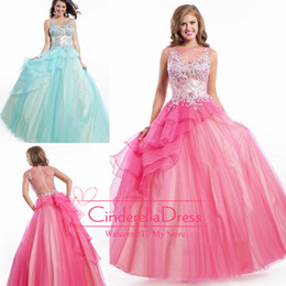 Wholesale 2014 Quinceanera Dresses Floral Sexy Sheer Crew Neckline Floor Length Exquisite Beads Crystals Prom Gowns Hot Pink Evening Dresses PT6447