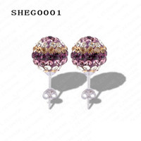 Wholesale Hot Sale mm AB Clay Circle Crystals Ball Fashion Shamballa Earrings Mix Cplors Options SHEGmix1