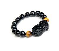 Beaded, Strands strand bracelets semi-precious stone 12MMNatural black tourmaline pi xiu bracelet male transhipped Women lucky evil gift