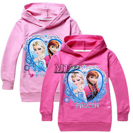 Wholesale New Fashion Frozen Elsa And Anna Printed Girls Kid Hoodies Clothing Tops T Shirt Y Toddler Sweaters colors piece