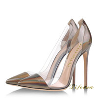 Women Pumps Spring and Fall Fashion Pointed Toe Woman Single Shoes Transparent Euramerican Style Brown Patent Leather Shallow Mouth Stiletto Heel 12cm